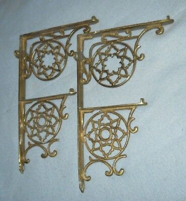 Vintage pair ornate GLO-MAR solid brass double dual SHELF BRACKETS braces
