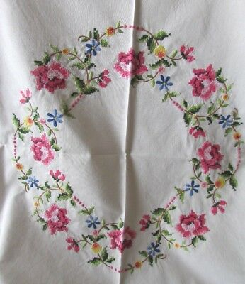 BEAUTIFUL VINTAGE FRENCH HAND CROSS STITCH EMBROIDERED ROSES TABLECLOTH c1930's