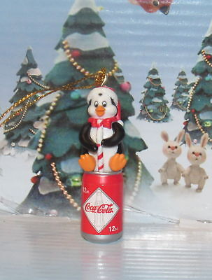Coca-Cola Penguin Drinking a Can of Coca-ColaWith Santa Hat Ornament