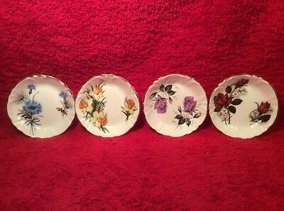 Gorgeous Set of 4 English Fine Bone China Butter Pats, p258  GIFT QUALITY!!