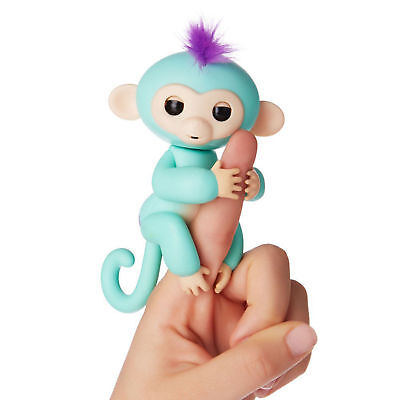 6 Functions Monkey Finger Kids Toy Electronic Interactive Pet Turquoise Blue