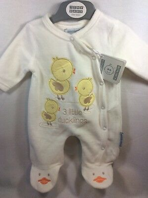 Tiny Baby Preemie Unisex One Piece All In One Cream Outfit Boy Girl Ducklings