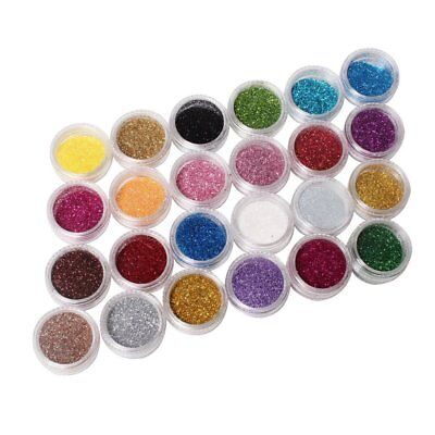 24 color Metal brillo brillante pedicuras uñas arte herramienta Kit acrílico UV