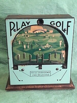 Rare Antique Golf Trade Stimulator Penny Flip Coin Drop Game Porcelain Front