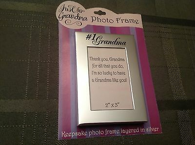 "NEW GRANDMA PICTURE FRAME Silver 2"" x  3"" Photo  CHRISTMAS GIFT"