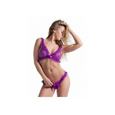 Completo intimo sexy Set with Soft Bra and G-String - Purple donna lingerie erot