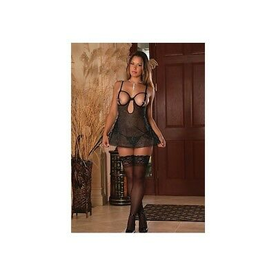 Completo intimo sexy Cupless Chemise & G-String- Black donna lingerie erotico