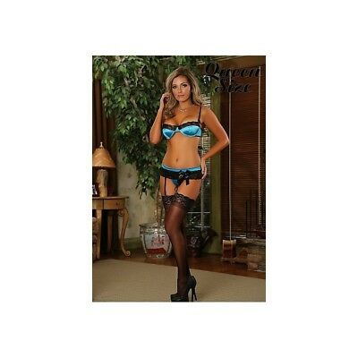 Completo intimo sexy Bra, Garter & G-String - Turquoise donna lingerie erotico