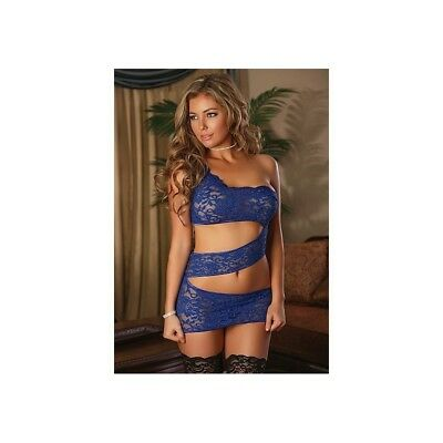 Completo intimo sexy Zigzag Dress & G-String Set - Blue donna lingerie erotico