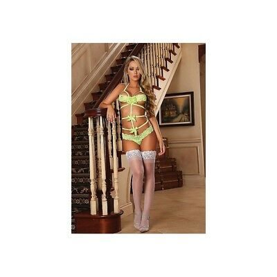 Completo intimo sexy Lace Bow Teddy - Yellow donna lingerie erotico