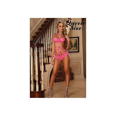 Completo intimo sexy Lace Bow Teddy - Pink donna lingerie erotico