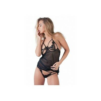 Completo intimo sexy Babydoll Set With G-String - Black donna lingerie erotico