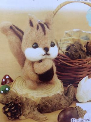 Cute Woodland Squirrel Japanese Felt Kit/ DIY felting Craft