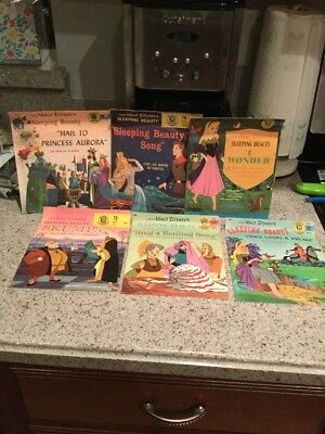 Vintage Disney Book Record Set Lot Of 6 Childrens Records/  SLEEPING BEAUTY