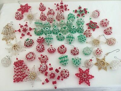 Vintage Handmade Beaded Bell Star Ball Christmas Holiday Ornaments Lot