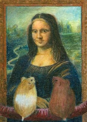 ACEO Print COLETTE and Charlotte Hamsters Mona Lisa, the Louvre, Paris