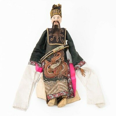 Antique Large Hand Carved Wood Chinese Opera Doll Puppet w Embroidered Clothes