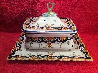 Antique French Faience Hand Painted Covered Sardine Box w Attached Underplate