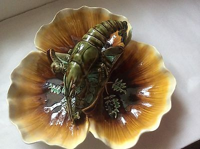 Antique French Palissy Majolica Lobster Platter by Choisy-le-Roi c1836, fm919