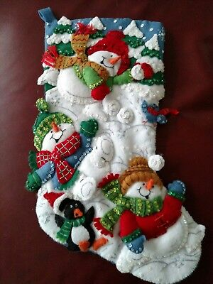 Bucilla Felt Christmas Stocking Finished Completed *Snow Fun*
