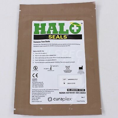 HALO Chest Occlusive Seals x2 Per Package Exp. 2019 CURAPLEX Military Issue NSN