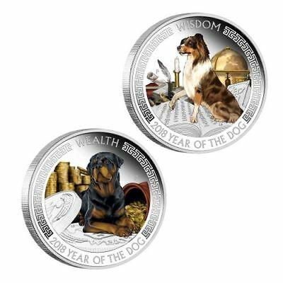 Tuvalu 2018 Year Dog Lunar Good Fortune Wealth & Wisdom 2 Coin $1 Silver Set 2oz