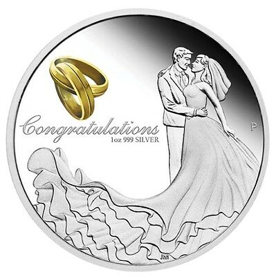 Australia 2018 WEDDING 1 OZ SILVER proof COIN w/ Crystal Embellishment Box GIFT