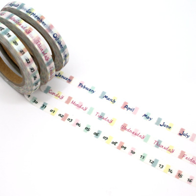 Washi Tape - Day and Month Set 3 Rolls in Set 5mm x 10m Per Roll Numbers Days