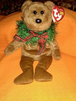 TY Beanie Baby - HOLLYDAYS the Holiday Bear (8.5 inch) -MWMTs Stuffed Animal Toy