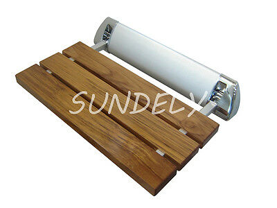 FOLDING BATH SEAT Bench Wall Mount Solid Wood Construction Shower ...