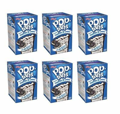 900683 6 x 400g BOX OF KELLOGG'S POP TARTS FROSTED COOKIES & CREME FLAVOUR! USA