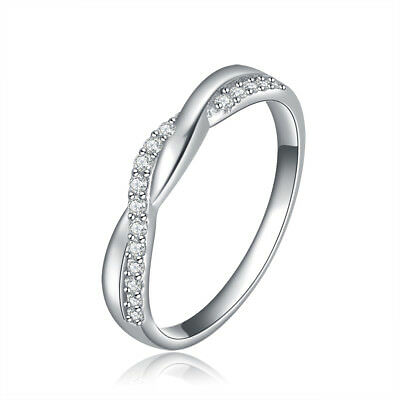 Fashion Women CZ Crystal Wedding Eternity Infinity Silver Band Ring Size 5.5-9