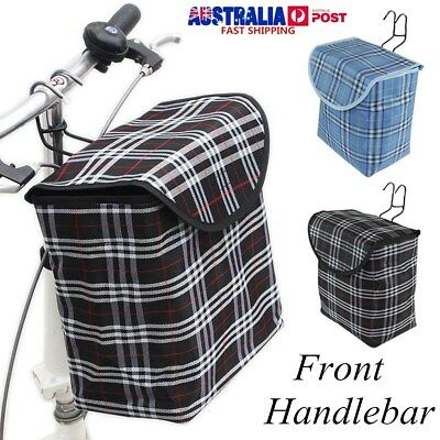 Front Handlebar Bicycle Portable Fold-up Canvas Bag Bike Basket Cover w/ Hook