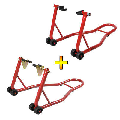 New Warrior Front And Rear Motorcycle Paddock Stand Stainless Steel Track / Race