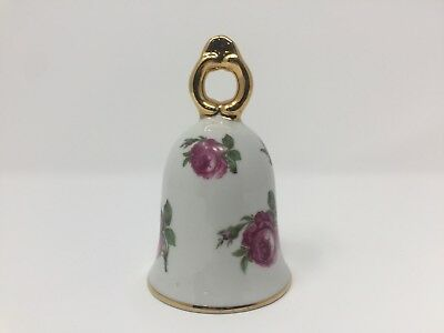P K Royal Floral Rose Gold Trim Porcelain Bell Made in West Germany White Pink