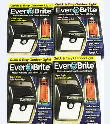4PCS Everbrite Solar Powered & Wireless Ever Brite 8 Led Outdoor Light AS ON TV
