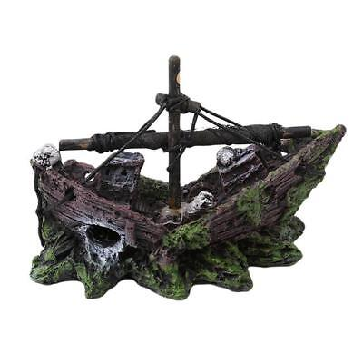 Aquarium Fish Tank Ornament Sunken Sailing Boat Ship Wreck NEW - FI