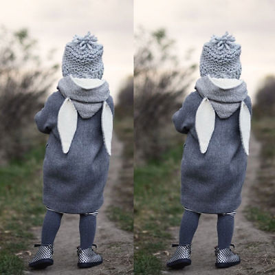 Baby Boy Girls Hooded Coat Jacket Toddler Kids Rabbit Ear Hoodies Outfit Clothes