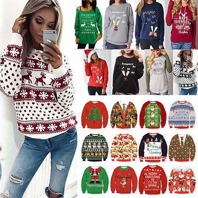 Xmas Christmas Women Hoodie Jumper Sweater Snowflake Winter Pullover Tops Blouse