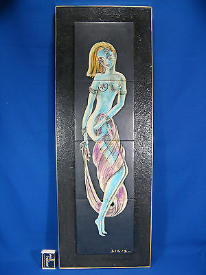 "Beautiful 50´s ""erotic"" dancing girl pottery handpainted SIGIS wall picture"