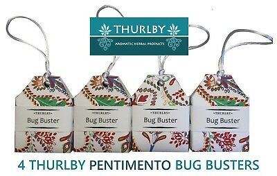 4 x Thurlby Herb Farm Herbal Moth Ball Pentimento Bug Busters Australian Made