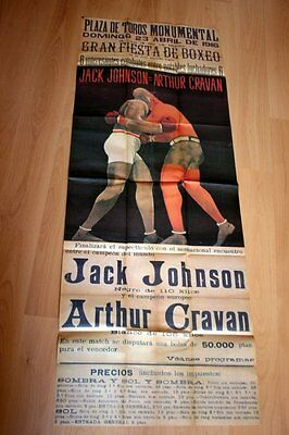 POSTER - CARTEL GIGANTE - JACK JOHNSON vs CRAVAN - BARCELONA 1916 - 157x59 cm -