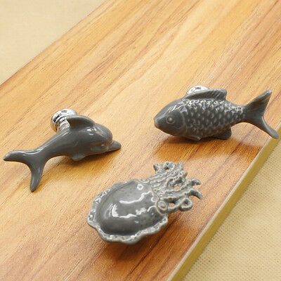 Lovely Animal Ceramic Closet Door Knob Cabinet Bookcase Fish Dolphin Pull Handle