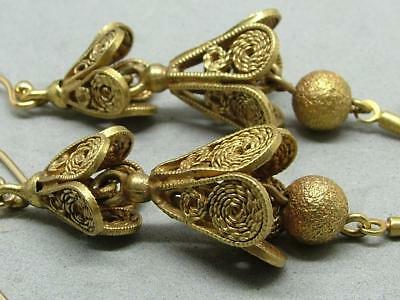 Antique Georgian Stunning Pinchbeck Cannetille Earrings w Gold Filled Ear Wires