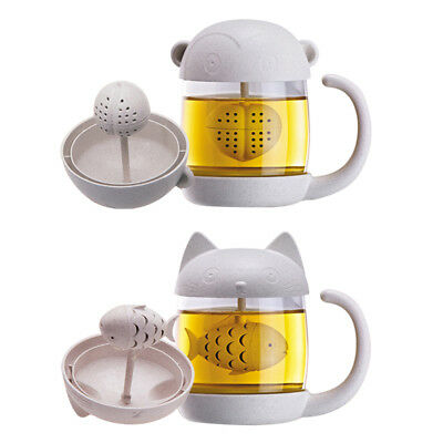 Glass Cup Tea Mug Cute Cat with Fish Infuser Strainer Filter Home Offices Gift