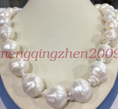 """Rare Huge 15x20MM WHITE SOUTH SEA BAROQUE KESHI PEARL NECKLACE 18"""" AAA+"""