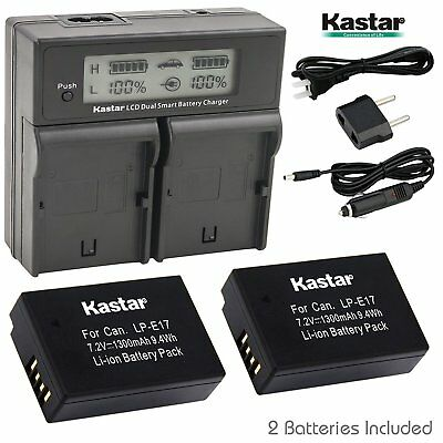 LP-E17 Battery & LCD Dual Charger for Canon Rebel SL2 T6i T6s T7i, KISS X8i X9i