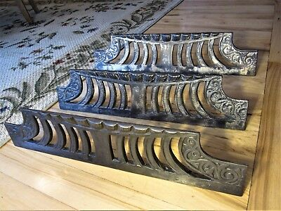 3 Ornate Cast Iron Fireplace Grills Victorian Shabby Heat Grates Chic Stove Vent