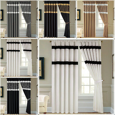 Luxury Jacquard Faux Silk Pair of Fully Lined Pencil Pleat Tape Top Curtains