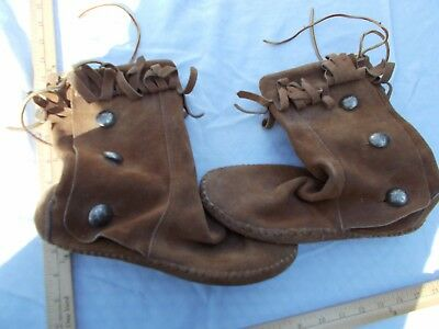 Vintage Taos Hippie Boho Fringed Size 10 Women's Brown Leather Moccasins